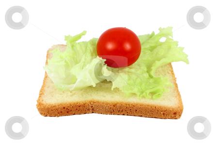 Vegetarian sandwich stock photo, Vegetarian sandwich lettuce and tomato on toast by Borislav Marinic