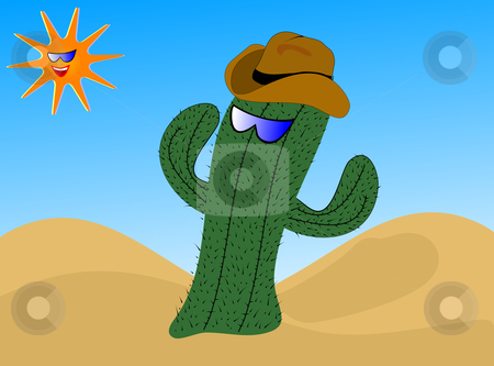 A cartoon cactus wearing a cowboy hat stock vector clipart, A cartoon cactus wearing a cowboy hat with a laughing sun wearing sunglasses by Mike Price
