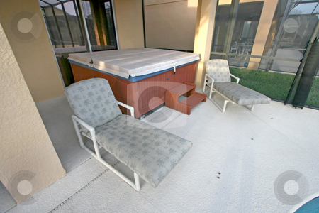 Hot Tub stock photo, A Hot Tub, Loungers and Lanai in Florida by Lucy Clark