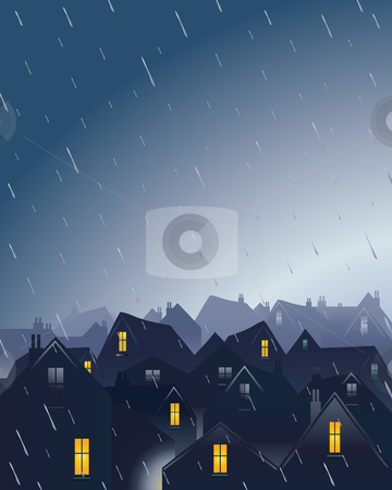 Rainy rooftops stock vector clipart, An illustration of a rainy evening over rooftops with a dramatic sky by Mike Smith