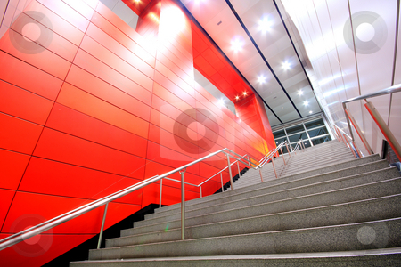 Long stair in a modern building stock photo, Long stair in a modern building in hong kong by Keng po Leung