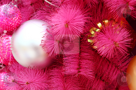 Pink christmas background stock photo, Pink christmas background with many balls by Keng po Leung