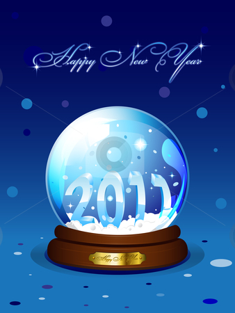 New Year 2011 card stock vector clipart, New Year 2011 card with realistic snowglobe on blue background. Vector illustration by Vladimir Gladcov
