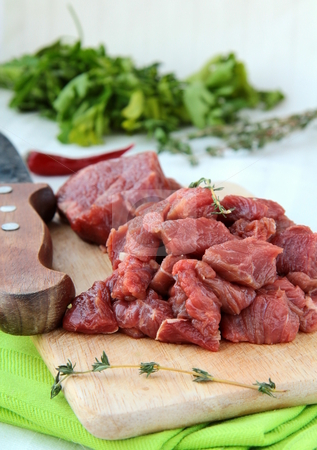 Meat is cut into pieces ingredient  food stock photo,  by Olga Kriger