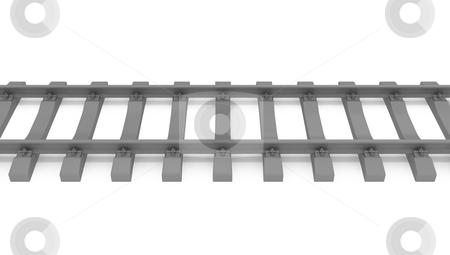 Gray 3d rails horizontal stock photo, Gray 3d rails horizontal isolated on white background top view by Zelfit