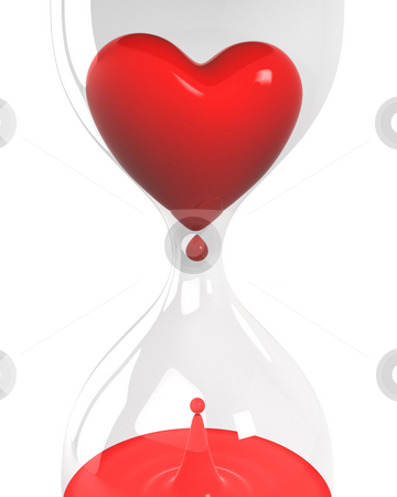 Hourglass with heart and blood closeup  stock photo, Hourglass with heart and blood isolated on white background closeup version by Zelfit
