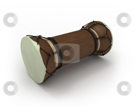 African talking drum in perspective  stock photo, African talking drum in perspective isolated on white by Zelfit