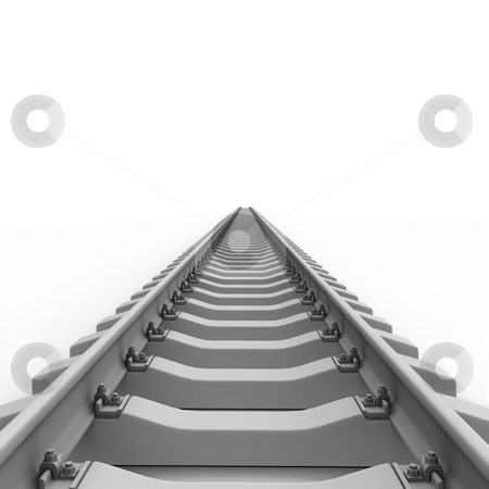 Long rails stock photo, Long rails isolated on white background by Zelfit