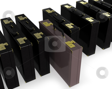 Brown case in row of black  stock photo, Brown case in row of black isolated on white background by Zelfit