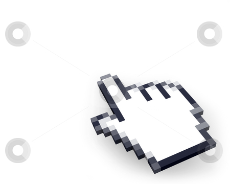 Hand cursor in perspective  stock photo, Hand cursor in perspective isolated on white background by Zelfit
