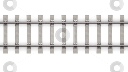 3d rails horizontal top view  stock photo, 3d rails horizontal isolated on white background top view by Zelfit