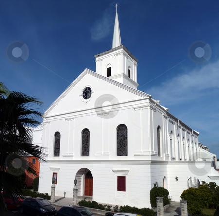 Hamilton Church stock photo, Pretty white church, in downtown Hamilton, Bermuda. by Mary Lane