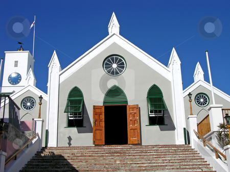 St. Peters stock photo, Historic St. Peter's church in St. George, Bermuda. by Mary Lane