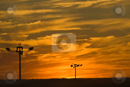 Sunset stock photo, An amazing sunset, looking out over the airport. by Mary Lane