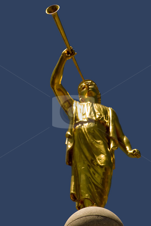 Moroni stock photo, The golden statue of the angel Moroni on top of the Mormon temple, Salt Lake City, Utah. by Mary Lane