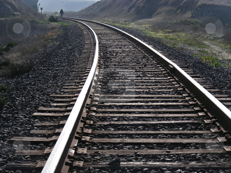 Going Down the Tracks stock photo, Walking along the tracks, near Davenport, California. by Mary Lane