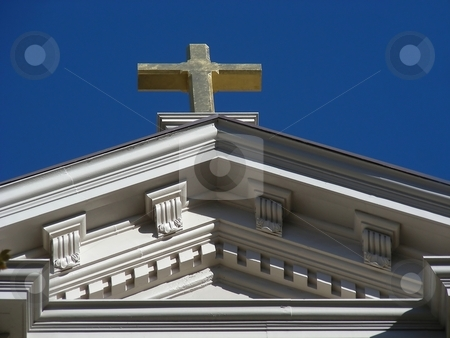 Sacramento Church stock photo, Cross on the top of a church in Sacramento, California. by Mary Lane