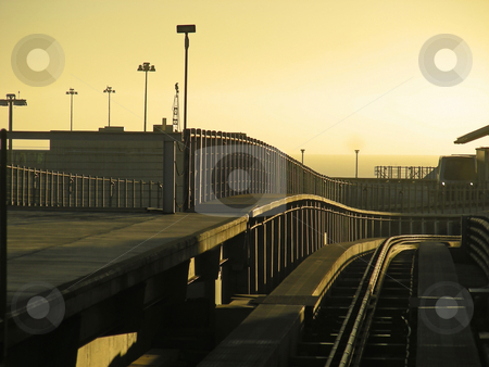 Sunrise at SFO stock photo, Sunrise as the weary road warrior takes the train to the terminal at SFO. by Mary Lane