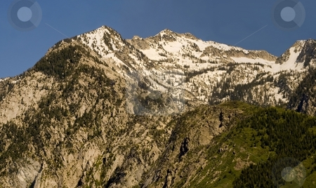 Wasatch stock photo, Peaks of the Wasatch Mountains, east of Salt Lake City Utah, still with snow on top. by Mary Lane