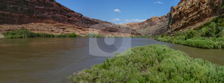 Colorado River stock photo, The Colorado River cuts through the red rocks of Moab, Utah. by Mary Lane