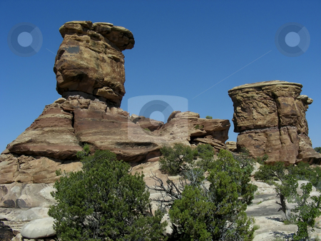 Top Hats stock photo, Hoodoos looking like a set of top hats - Canyonlands National Park, Moab, Utah. by Mary Lane
