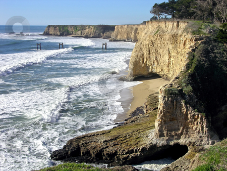 Davenport stock photo, Cliffs on the Pacific near Davenport, California. by Mary Lane