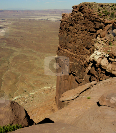 Utah Desert stock photo, Looking out from the top of a cliff over the Utah desert. by Mary Lane