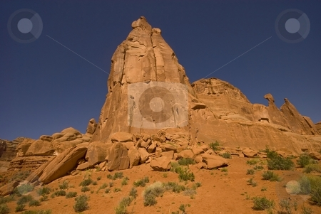 Arches stock photo, Soaring sandstone rock formations in Arches National Park, Moab, Utah. by Mary Lane