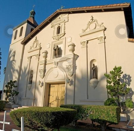 Mission Santa Clara stock photo, Classic California architecture in the historic Mission Santa Clara. by Mary Lane