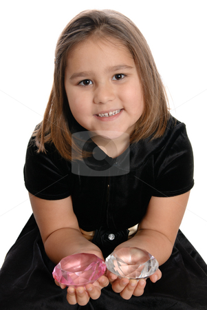 Spoiled Child stock photo, A spoiled girl is holding two large diamonds in her hands, isolated against a white background. by Richard Nelson