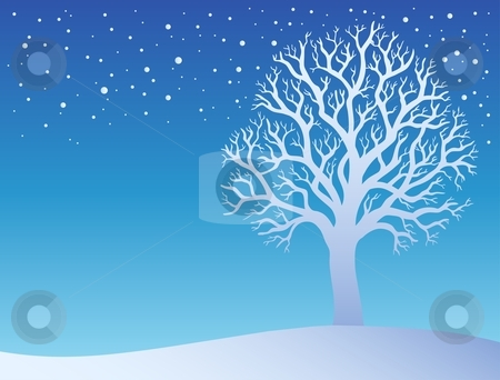Winter tree with snow 3 stock vector clipart, Winter tree with snow 3 - vector illustration. by Klara Viskova