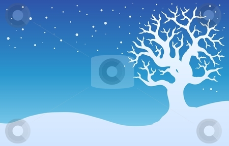 Winter tree with snow 1 stock vector clipart, Winter tree with snow 1 - vector illustration. by Klara Viskova