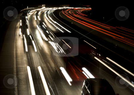 Speed stock photo, Crowded highway at night, Berne, Switzerland, Europe by mdphot
