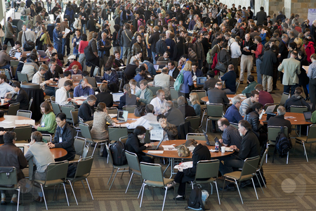 Crowd of scientists at coffee break stock photo, SAN FRANCISCO, USA, DECEMBER 16 2010. Crowd of scientists at coffee break during American Geophysical Union Fall Meeting, Moscone Center, San Francisco, December 13-18, 2010, California by Marek Uliasz