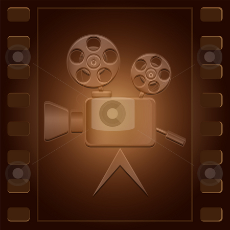 Film and camera stock photo, Movie camera of an obsolete design located on a film of brown color by Alina Starchenko