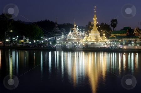 Mae Hong Son stock photo, Burmese Architectural Style of Wat Chong Klang (r) and Wat Chong Kham (l) at dusk. Mae Hong Son, Northern Thailand by Martin Darley