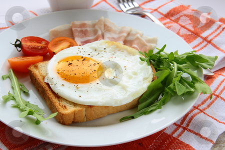 Fried egg for breakfast with bacon and tomatoes  stock photo,  by Olga Kriger