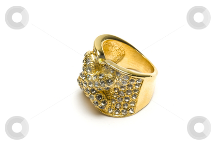 Jewellery gold ring isolated on the white stock photo, Jewellery gold ring isolated on the white background by Ingvar Bjork