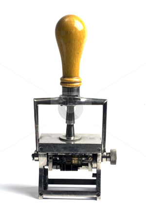 Rubber stamp isolated on white stock photo, Old rubber stamp isolated on white background by Ingvar Bjork