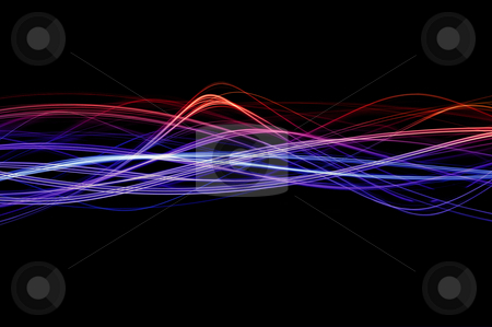 Lightwaves red and blue stock photo, Red, blue and purple waveforms of light on a black background by Stephen Gibson