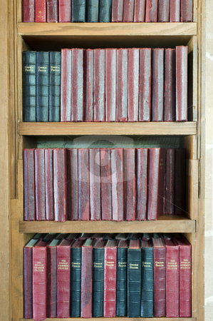 Book shelf and books stock photo, A shelf stacked with leather bound prayer books by Stephen Gibson
