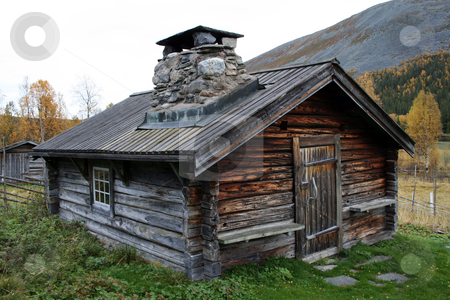 Old cabin  stock photo, Old tradtional wooden cabin in Sweden by Ingvar Bjork