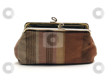 Old purse isolated on white stock photo, Old purse isolated on white background by Ingvar Bjork