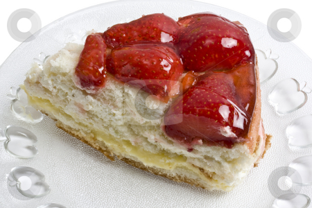 Delicious strawberry cheese cake stock photo, Slice of delicious strawberry cheese cake closeup by Ingvar Bjork