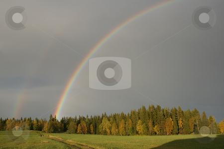 Beautiful double rainbow  stock photo, Beautiful double rainbow by Ingvar Bjork