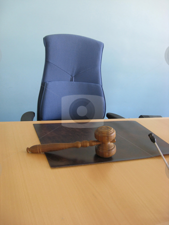 The court desk stock photo, Old wooden gavel,blue chair and court desk by Ingvar Bjork