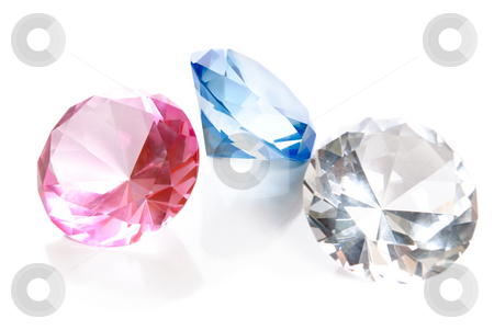 Fake Colored Gems stock photo, Fake colored gems in the shape of large diamonds are isolated on a white background with reflections. by Richard Nelson
