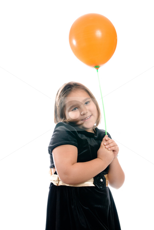 Birthday Girl stock photo, A happy birthday girl is smiling and holding  a single balloon, isolated against a white background. by Richard Nelson