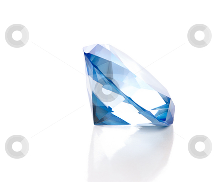 Fake Blue Diamond stock photo, A large fake blue diamond is isolated against a white background with a reflection. by Richard Nelson