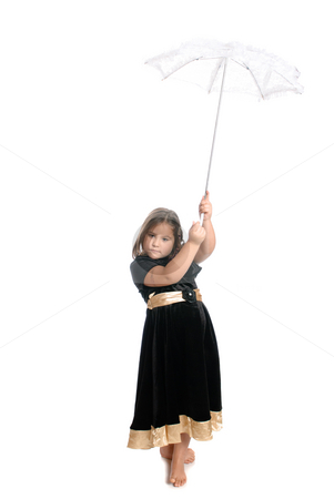 Child Holding Umbrella stock photo, A young female child is holding a lace umbrella, isolated against a white background. by Richard Nelson